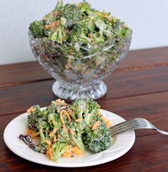 Lighter Broccoli Salad  2 head broccoli florets, bite sized (8-10 cups)  2/3 c  almonds  1 c dried cranberries  1 c low fat cheddar cheese, shred  12 oz. fat free Greek yogurt  1/4 c balsamic vinegar  2 T. honey  2 t. onion powder  2 t. salt  ground black pepper  Toss first 4 ingredients.  Whisk together last six ingredients.  Pour over broccoli mixture and mix.