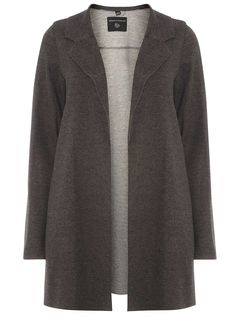 Womens Charcoal Knitted Coat- Grey
