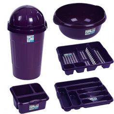 Kitchen Accessories 5 Pc Purple Kitchen Bullet Bin Set
