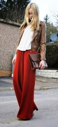 Red pallazo pants, White top and Brown jacket  – Perfect Choice.