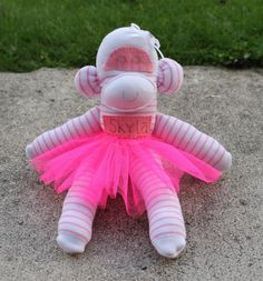 Pink & White Sock monkey with name and tutu £9.99