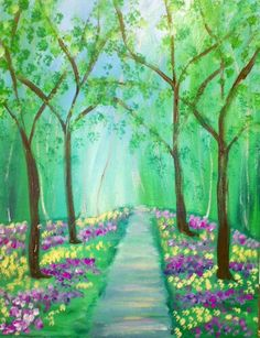 I am going to paint Spring's Path at Pinot's Palette - Ellicott City to discover my inner artist! painting Spring's Path - Sun, May 10 at Ellicott City Night Sky Painting, Sunrise Painting, Lake Painting, Spring Painting, Simple Canvas Paintings, Easy Canvas Painting, Diy Canvas Art, Seascape Paintings, Tree Paintings