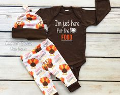 Baby Boys First Thanksgiving Outfit Brown Infant Bodysuit