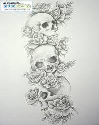 Bildergebnis für skull roses tattoo