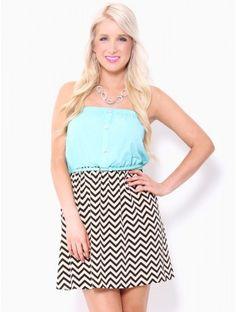 #Chevron Mini Dress with Belt in #Mint