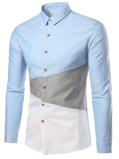 Turn-Down Collar Color Block Plus Size Shirt Plain Shirts, Plus Size Shirts, Men's Shirts, Md Fashion, Fashion Site, Fashion Trends, Latest Mens Wear, Moda Casual, African Men Fashion