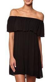 wv tia off the shoulder dress, BLACK