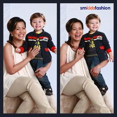 Delamar and Cooper share a few laughs in this shot. He's wearing comfortable jeans and a dressy black-and-yellow shirt topped with a cool jacket. Here's to more good times. #CelebrityMom #Holiday #SMKidsFashion