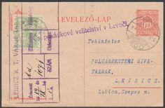 Czechoslovakia, Tschechoslowakei 1919, 5 H. hellgrün, auf ungarischer 10 F.-Ganzsachen-Postkarte, von 'LOCSE 29.AUG.19', nach Leibicz, Bedarfsbeleg mit Firmen-Ankunftstempel, Lösce hatte bis 1918 zu Ungarn gehört, daraus erklärt sich die bedarfsmäßige Formular-Verwendung dieser Ganzsache, interessant (Mi.-Nr. 2a). Price Estimate (8/2016): 30 EUR.