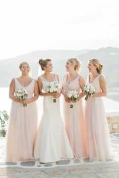 Bridesmaids in pale pink: http://www.stylemepretty.com/2016/07/22/mykonos-island-greece-destination-wedding/ | Photography: Anna Roussos - Photographer - http://annaroussos.com/