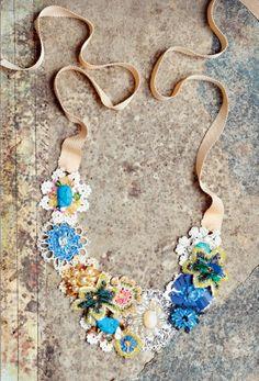 pretty beaded flower collar necklace - handmade fashion