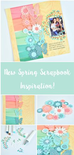 8x8 Scrapbook Layouts, Album Scrapbook, Baby Scrapbook Pages, Printable Scrapbook Paper, Disney Scrapbook, Scrapbook Paper Crafts, Scrapbook Supplies, Scrapbooking Flowers, Making Ideas