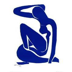 Henri Matisse, Blue Nude (I) (1952) Gouache painted paper cut-outs on paper on canvas 106.30 x 78.00 cm