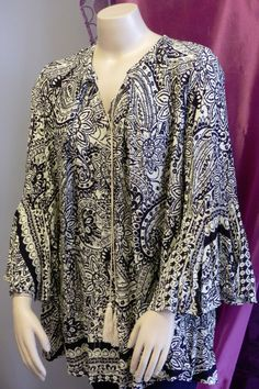 NWT Umgee 2089 Tunic Dress Black Print Bell Sleeves Tassel trim Cotton XL 1X 2X #Umgee #Tunic #Casual
