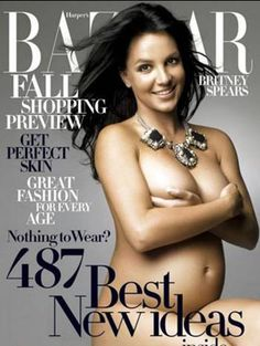 Britney Spears magazine cover with nude maternity portrait on Bazaar