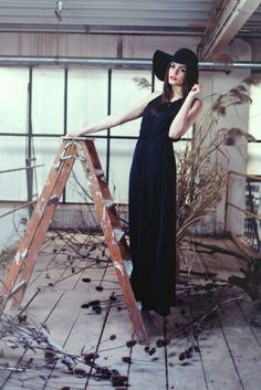 Old but gold! Pro shoot with a black long dress. A classic and timeless fashion outfit♡