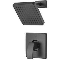 Pfister R89-7DFB Kenzo Shower Trim Package in Matte Black with Rain Shower Head