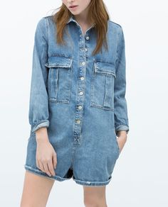 Short denim jump suit by Zara Zara Jumpsuit, Denim Jumpsuit, Romper Pants, Denim Romper, Black Jumpsuit, Playsuit, Denim Jeans, All Jeans, Denim Overalls