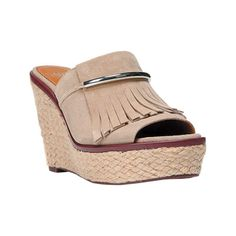 Women's Franco Sarto Candace Sandal - Soft Tan Lux Brushed Suede Casual featuring polyvore fashion shoes sandals platform sandals suede sandals chunky sandals platform shoes fringe wedge sandals