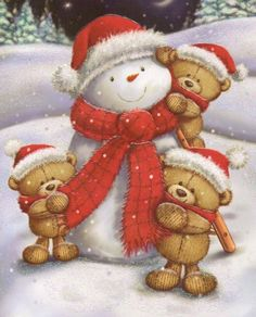 These little snowman is getting 'cuddles' from the three little bears ~