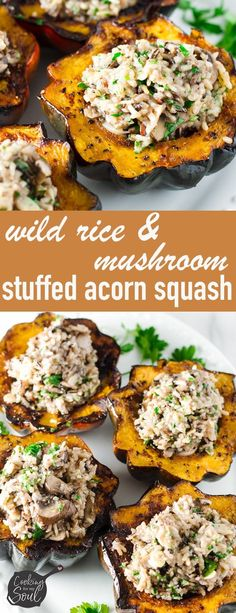 Stuffed Acorn Squash with Wild Rice and Mushroom Pilaf! Made with roasted acorn … Stuffed Acorn Squash with Wild Rice and Mushroom Pilaf! Made with roasted acorn squash and a rice pilaf. One of the best Thanksgiving recipes Healthy Thanksgiving Recipes, Thanksgiving Sides, Fall Recipes, Healthy Recipes, Wild Rice Recipes, Thyme Recipes, Thanksgiving Desserts, Christmas Desserts, Dinner Recipes