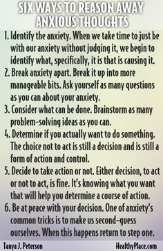 """Is it possible to reason anxiety and anxious thoughts away when anxiety is often irrational? Read on for 6 ways to reason anxiety and anxious thoughts away."" www.HealthyPlace.com"