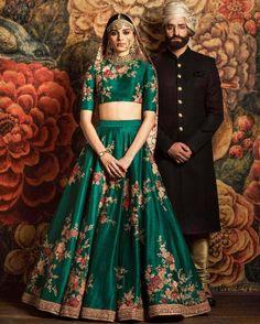 Looking for Sabyasachi Bottle Green Floral Lehenga? Browse of latest bridal photos, lehenga & jewelry designs, decor ideas, etc. on WedMeGood Gallery. Indian Bridal Outfits, Indian Bridal Fashion, Indian Bridal Wear, Bridal Dresses, Floral Lehenga, Bridal Lehenga, Sabyasachi Wedding Lehenga, Green Lehenga, Indian Lehenga