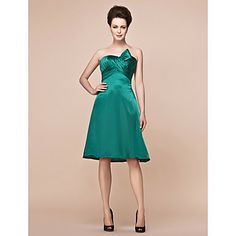 A-line Strapless Knee-length Charmeuse Mother Of The Bride Dress – USD $ 99.99