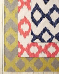 Ikat Flat-Weave Wool Rug - Like the Poppy Red and Navy