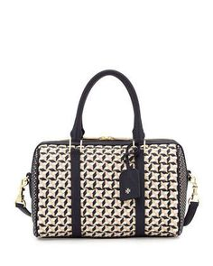 Robinson Woven Small Doreen Satchel Bag, Tory Navy Multi by Tory Burch at Neiman Marcus.