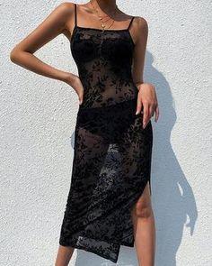Sexy Mesh Flower Embroidery Spaghetti Strap Slit Dress – Dressisi Slit Dress, Mesh Dress, Lace Dress, Cheap Dresses, Sexy Dresses, Club Dresses, Gothic, Spaghetti Strap Dresses, Clubwear