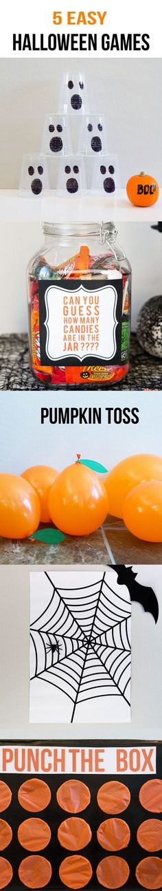 5 EASY Kids Halloween Games including ghost bowling, candy guess game, pumpkin toss, punch a box and pin the spider on the web. These games are perfect for any Halloween party with kids! Made in partnership with @hersheycompany  #ad
