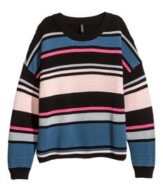 Check this out! Wide-cut, rib-knit sweater in soft fabric with glittery threads. Long sleeves and ribbing at neckline, cuffs, and hem. - Visit hm.com to see more.