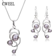 Women's Simulated Pearl & Crystal Necklace and Earrings Set