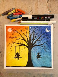 Art Room Britt: Silhouetted Day and Night Tree Art . - Gozu - Art Room Britt: Silhouetted Day and Night Tree Art … Art Room Britt: Silhouetted Day and Night Tree Art Room Britt: Silhouetted Day and Night Tree - Cute Canvas Paintings, Oil Pastel Paintings, Canvas Painting Tutorials, Oil Pastel Art, Oil Pastel Drawings, Small Canvas Art, Easy Canvas Painting, Mini Canvas Art, Galaxy Painting