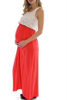 coral crochet top maternity maxi dress