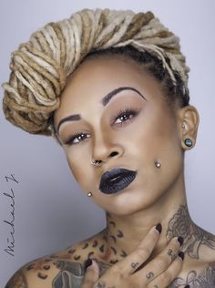:-) blonde locs and check piercing Dreadlock Styles, Dreads Styles, Dimple Piercing, Body Piercing, Cheek Piercings, My Hairstyle, Dreadlock Hairstyles, Afro Punk, Natural Styles