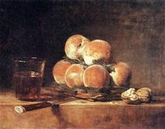 Jean-Baptiste Simeon Chardin Premium Thick-Wrap Canvas Wall Art Print entitled Still Life of Peaches, Nuts, Grapes and a Glass of Wine, 1758 (oil on canvas) Peach Jeans, Kitchen Maid, French Rococo, Most Famous Paintings, France Art, Oil Painting Reproductions, Pastel Art, Art Oil, Still Life