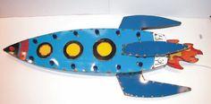 Retro Rocket Ship Vintage Industrial Metal Signs Lights & Artwork by Mitch Levin | eBay