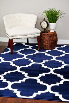 4158 Navy Blue Moroccan Lattice Area Rugs