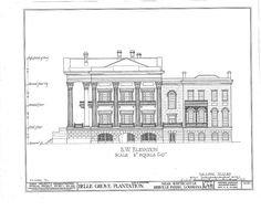 Belle Grove Plantation; side elevation