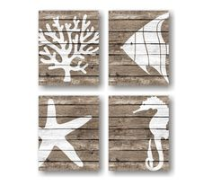 Sea Life Art Rustic Nautical Faux Wood Nautical by VerbosePrints