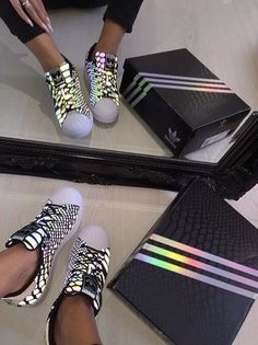 pinterest: @xpiink ♚ Tenis Adidas, Adidas Shoes, Shoes Online, Addidas Superstar, Holographic Adidas, Baskets, Leopard Nikes, Pink Nikes, Men Wear