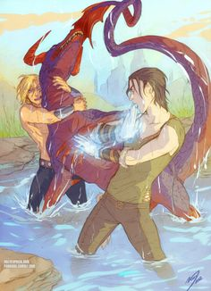 Thor and Loki fighting a bingelsnipe.I love that they're doing something together, the brotherhood they had back in the day. I love that each one is using his talents-- Thor his strength to hold the thing still and Loki his magic to dispatch it.<<< This
