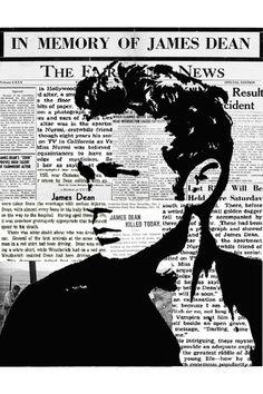 James Dean Newsprint Art Print