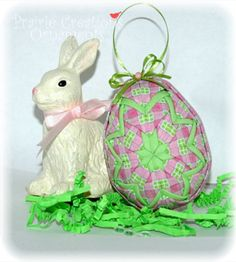 Quilted Ornament Easter Egg Hot Pink and by MyPrairieCreations, $18.00