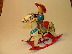Vintage Tin Litho Wind Up Cowboy Rocking Horse Toy Made in Japan Maple Leaf