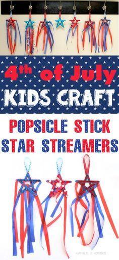 4th of July Kids Craft Idea - Patriotic Star Streamers