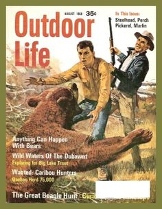 nothing funny about a bear attack, but this mag cover lol -- vintage Outdoor Life Magazine, Aug Beagle Hunting, Hunting Art, Hunting Magazines, Fishing Magazines, Outdoor Life Magazine, Magazine Art, Magazine Covers, Wild Waters, Life Cover