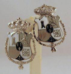 Vintage Coro Heraldic Enameled Earrings Shield Crown Lion Rampant